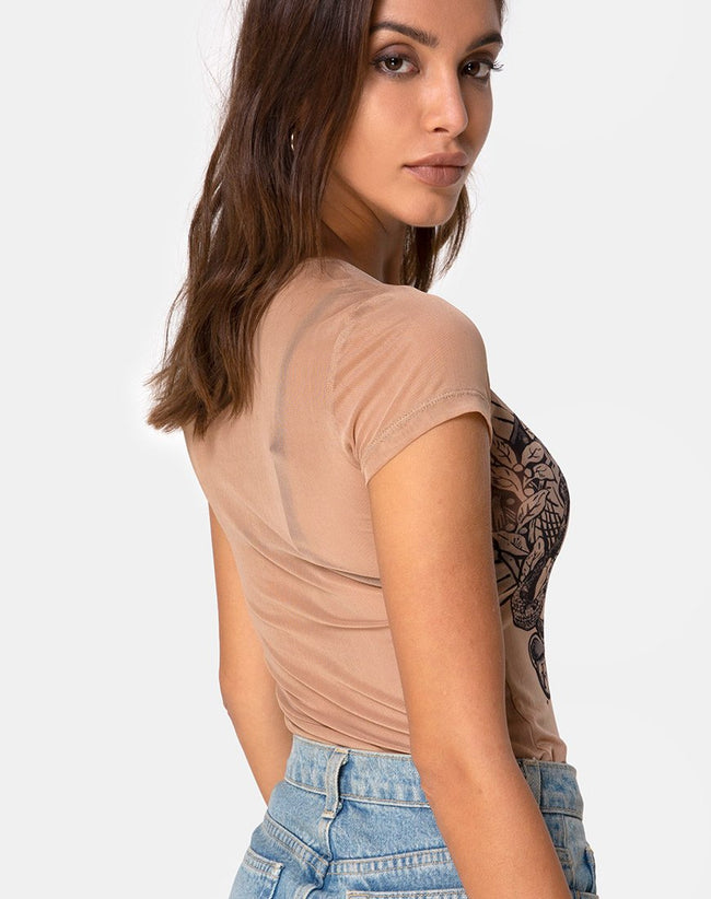 Whitney Tee Alchemy in Net Taupe by Motel