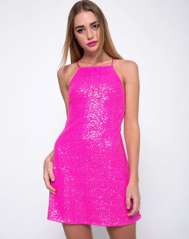 Winnie Dress in Mini Sequin Paris Pink by Motel