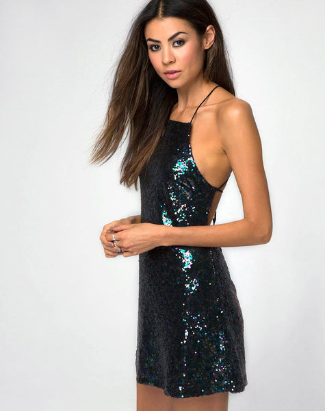 Winnie Dress in Mini Sequin Petrol by Motel