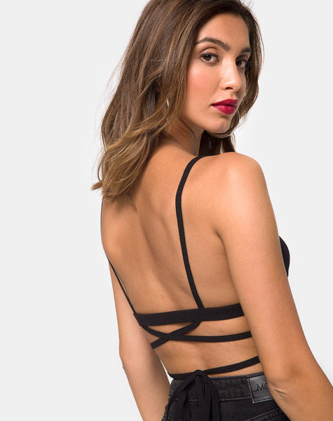Wrap Around Bralet in Rib Black by Motel