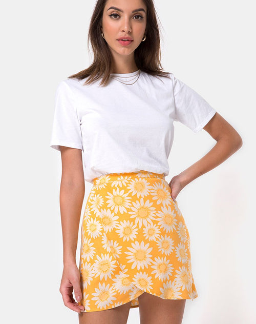 Derla Wrap Skirt in Sunkissed Floral Yellow by Motel
