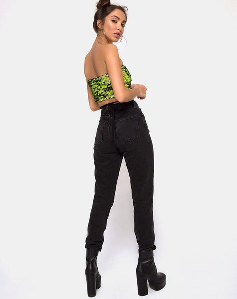 Wrap up Tube Top in Citrus Black sequin by Motel