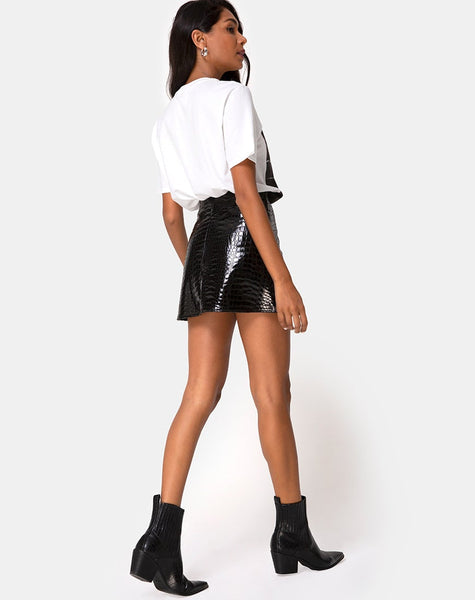 Wren Mini Skirt in PU Croco Black by Motel