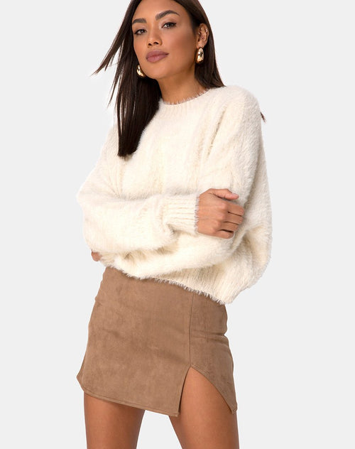 Wren Mini Skirt in Faux Suede Brown by Motel