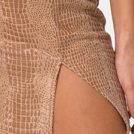 Wren Skirt in PU Snake Tan by Motel