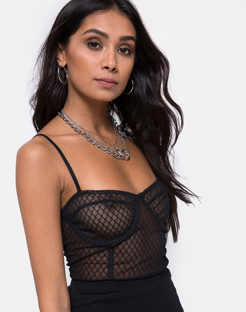 Yecal Bodice in Black Fishnet by Motel