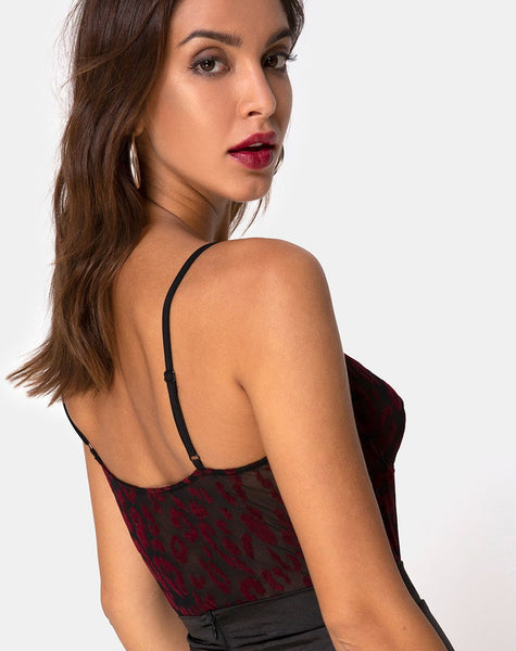 Yecal Sheer Bodice in Red Leopard Flock Black by Motel