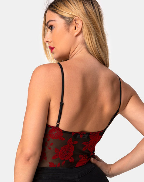 Yecal Bodice in Romantic Red Rose Flock by Motel