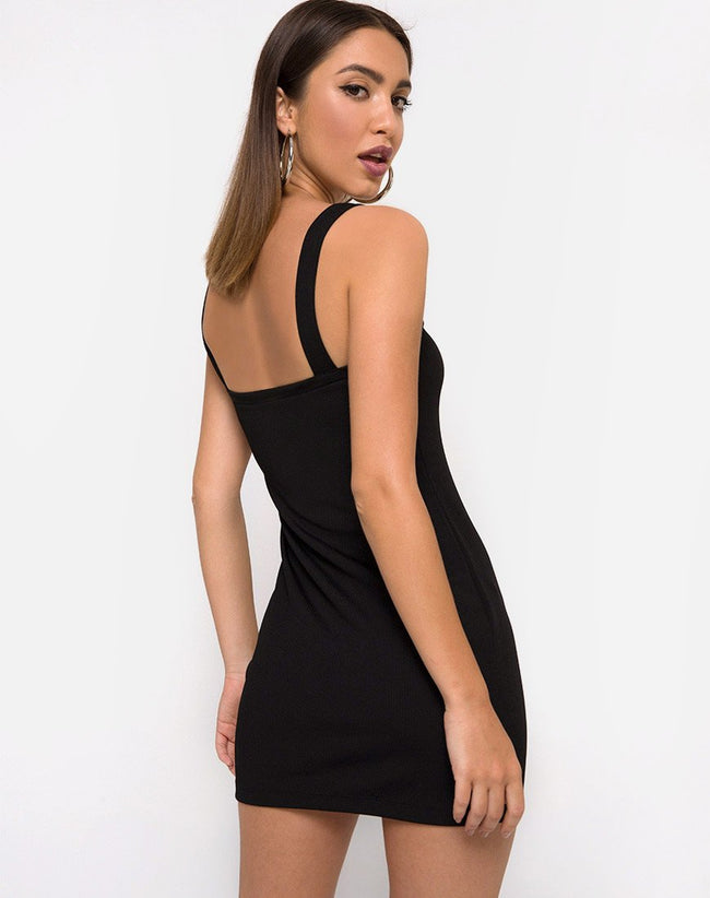 Yori dress In Black with Derlin Clip by Motel
