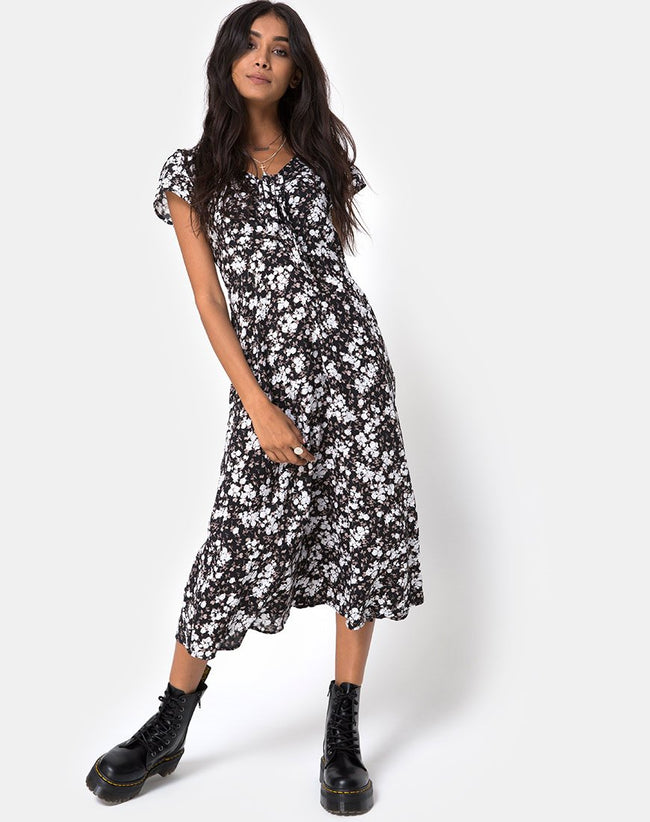 Youki Midi Dress in Dark Wild Flower by Motel