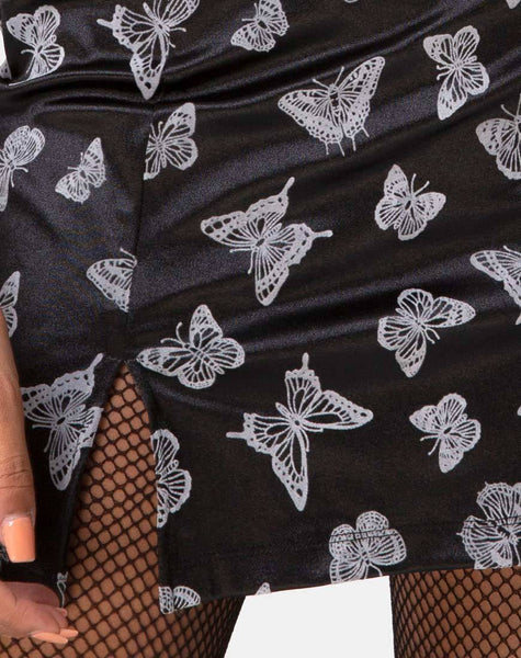 Zaid Mini Skirt in Black Butterfly Flock by Motel