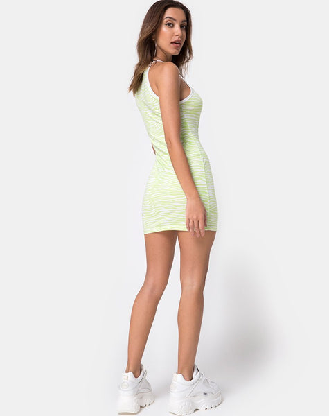 Zamora Bodycon Dress in Classic Zebra Lime by Motel