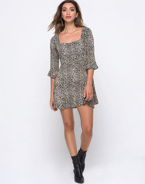 Zavnon Dress in Rar Leopard Brown by Motel