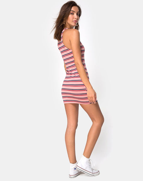 Zena Bodycon Dress in 70's Stripe Pink Horizontal by Motel