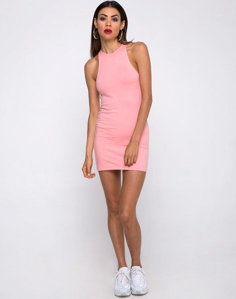 Zena Bodycon Dress in Pale Pink with White Stripe by Motel