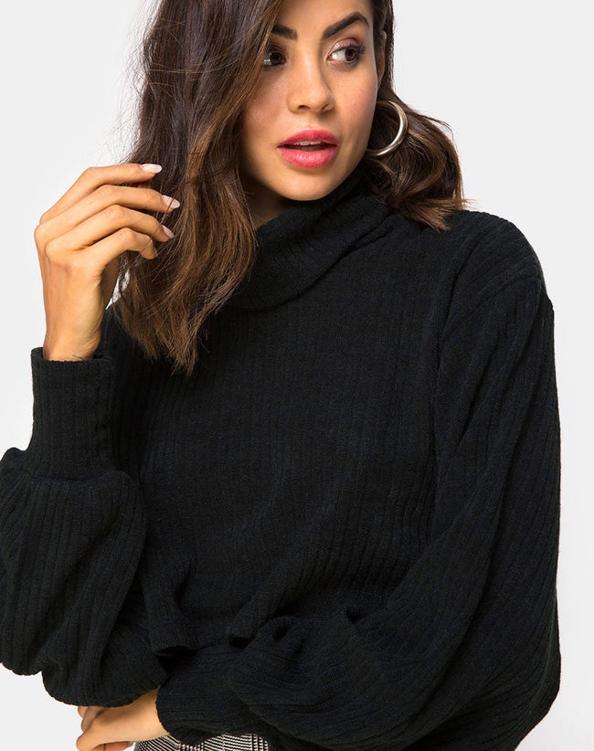 Nizer High Neck Jumper in Black By Motel