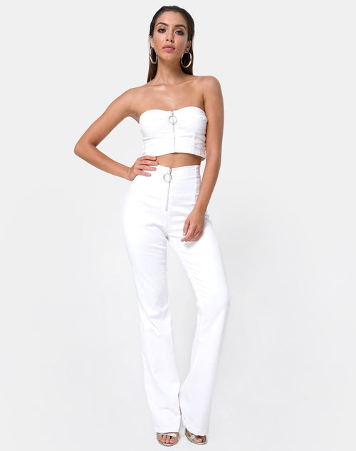 Zolia Trouser in White by Motel