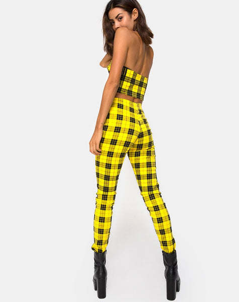 Zipshi Crop Top in Winter Plaid Yellow By Motel