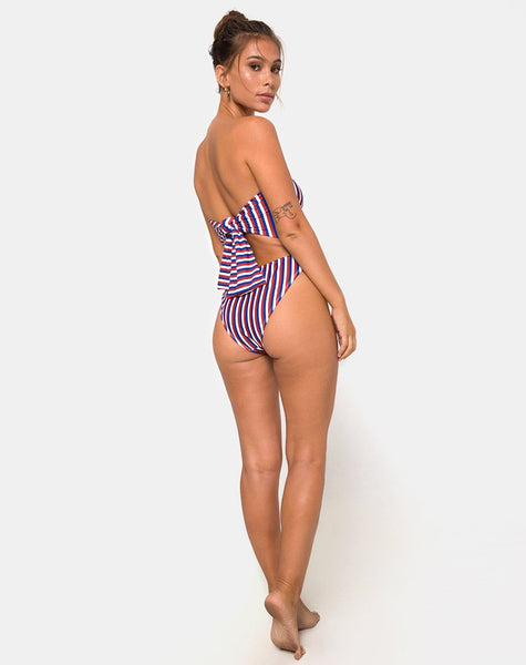 Zolly Cutout Swimsuit in Triple Stripe by Motel
