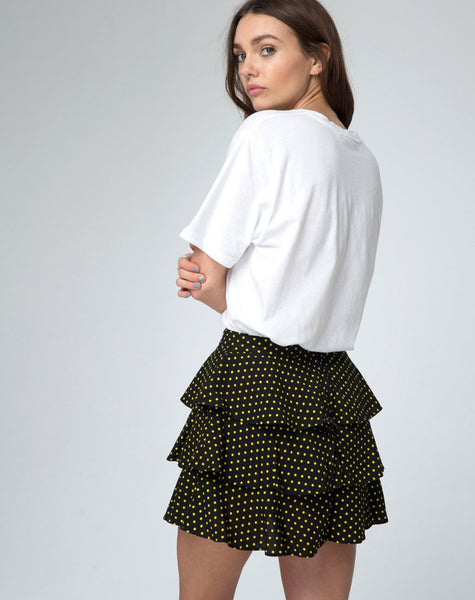 Casseyette Skirt in Yellow and Black Polka Dot