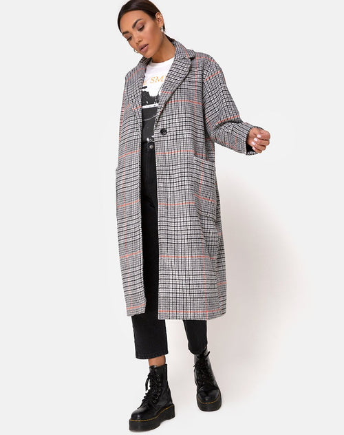 Glenn Duster Coat in Glenn Check Orange by Motel