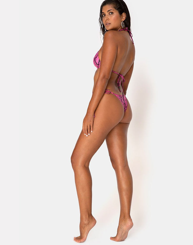 Talia Bikini Bottom in Snake Pink by Motel