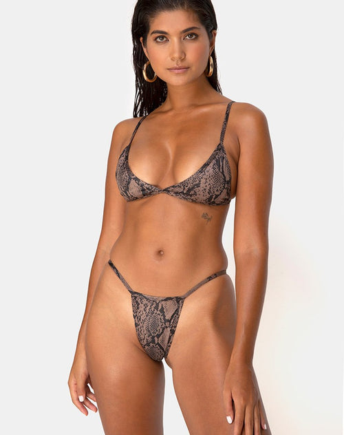 Valter Bikini Top in Snake Taupe by Motel