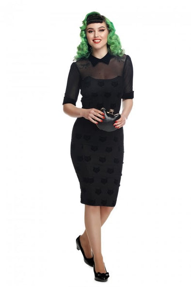Wednesday Velvet Cat Pencil Dress - Divine N' Envy Modern Vintage Clothing