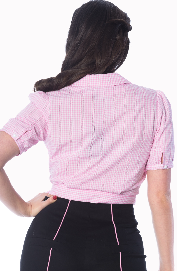 Grease Gingham Wrap Blouse - Divine N' Envy Modern Vintage Clothing