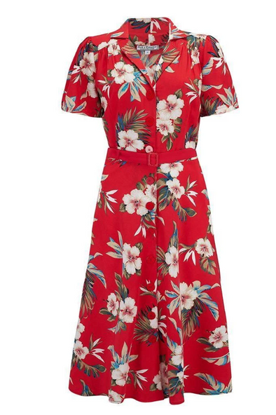 Charlene Vintage Tiki style Shirtwaister Dress RED - Divine N' Envy Modern Vintage Clothing