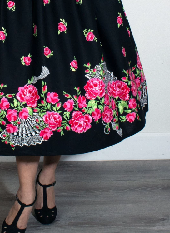 Fan Dance Border Print Skirt - Divine N' Envy Modern Vintage Clothing