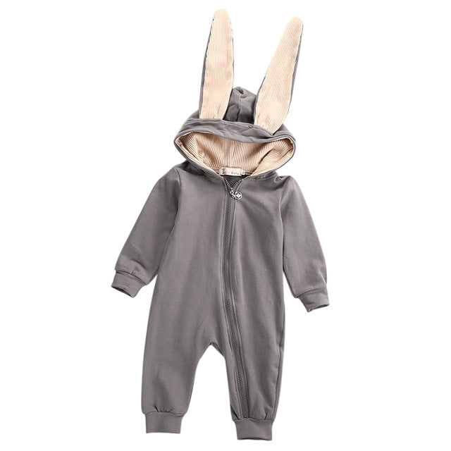 Bunny Ears Hooded Baby Romper