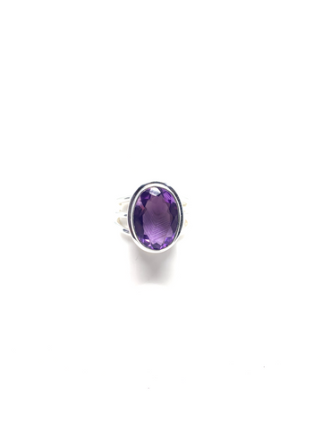 Amethyst Faceted Ring