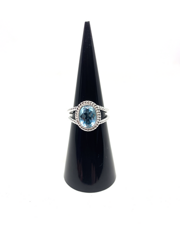 Blue Topaz Faceted Ring