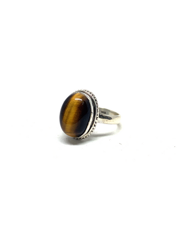 Gold Tiger Eye Oval Ring - Size 7