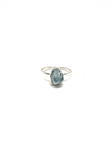 Aquamarine Raw Ring - Size 7