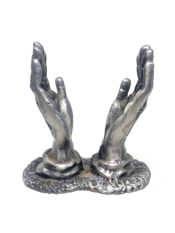 Open Hands Heart Pewter Stand