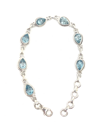 Blue Topaz Teardrop Faceted Bracelet