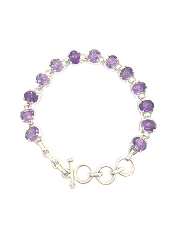 Amethyst Oval Faceted Bracelet