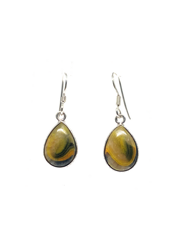 Bumble Bee Jasper Teardrop Earrings