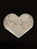 Selenite Filigree Carved Heart