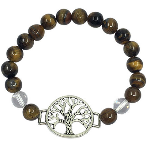Gold Tiger Eye & Clear Quartz Tree of Life Bead Bracelet