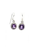 Amethyst Round Faceted Drop Earrings