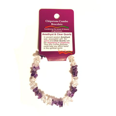 Amethyst & Clear Quartz Chip Bracelet