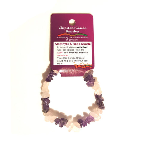 Amethyst & Rose Quartz Chip Bracelet