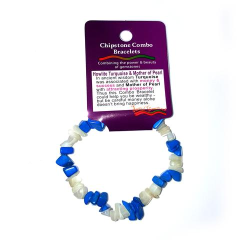 Blue Howlite & Mother of Pearl Chip Bracelet
