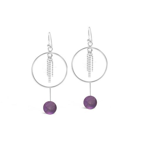 Amethyst Hoop with Chain Earrings