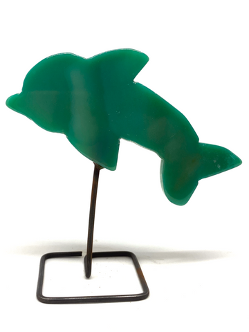 Green Agate Dolphin on Stand