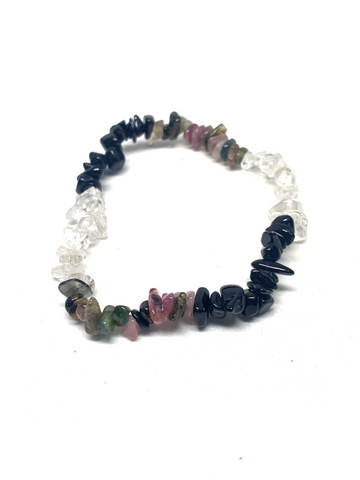 Clear Quartz & Multi-Coloured Tourmaline Chip Bracelet