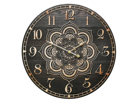 Black & Brown Mandala Clock